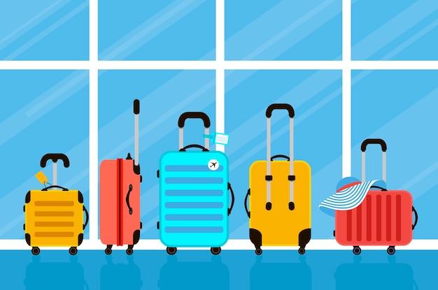 Koffer auf flughafenillustration