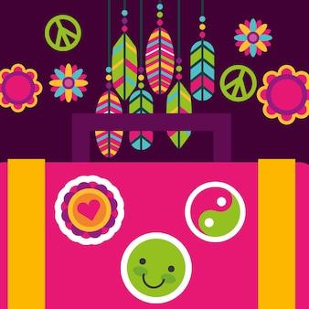 Koffer aufkleber feder blume hippie freigeist