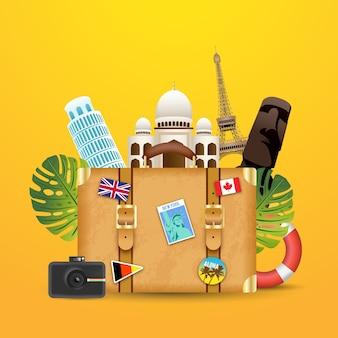 Koffer mit marksteinhintergrund in der realistischen art