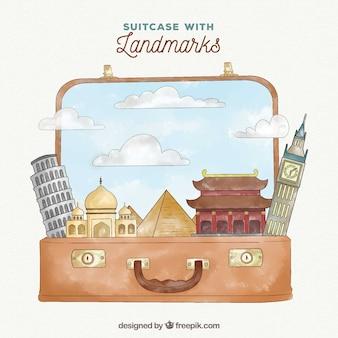 Koffer mit sehenswürdigkeiten in aquarell-stil