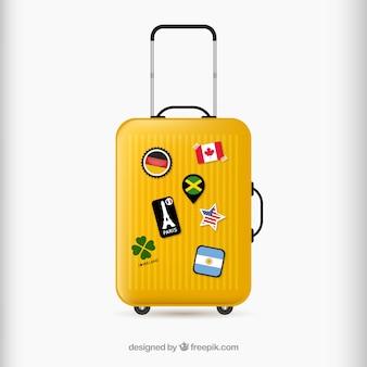 Koffer mit sehenswürdigkeiten in realistischer stil