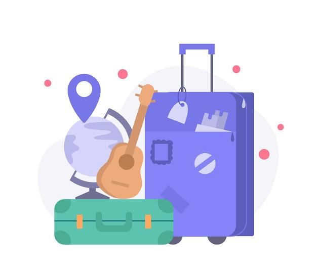 Koffer, navigation und gitarre. reiseillustrationsvektor für zielseitenobjekt