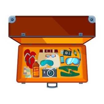 Koffer öffnen. offener koffer der illustration mit verschiedener kleidung für ferien