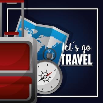Koffer reisen kompass und karte vektor-illustration