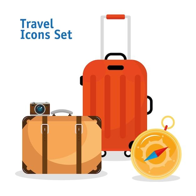 Koffer reisen mit kompass