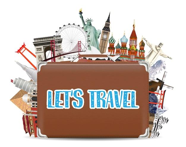Koffer reisetasche mit weltreisen wahrzeichen