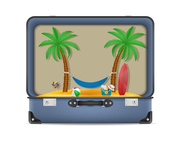 Koffer und gegenstände für eine strandurlaub-konzeptillustration isoliert auf weiß