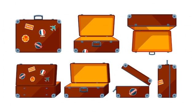 Koffer. verschiedene ansichten des reisekoffers