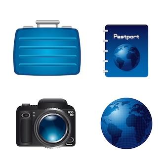 Koffer welt mit pass und kamera isoliert