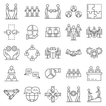 Kohäsions-icon-set. umrisssatz kohäsionsvektorikonen