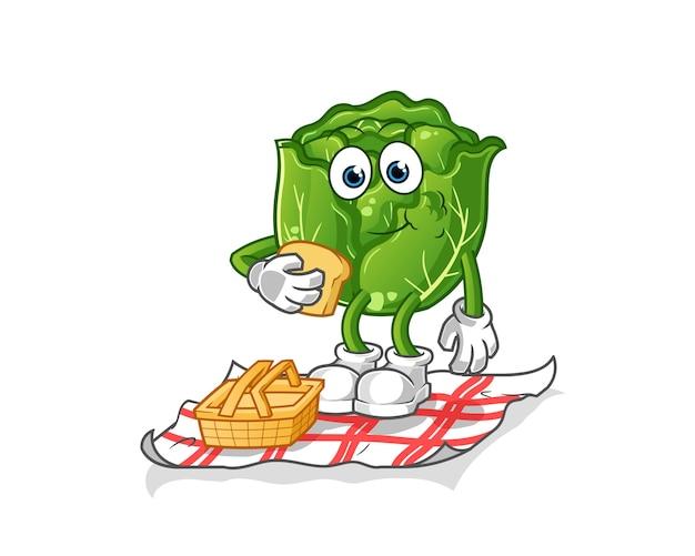Kohl auf einem picknick-cartoon