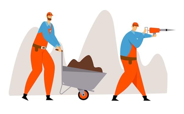 Kohle- oder mineralienabbau, arbeiter in uniform und helme mit presslufthammer und schubkarre mit boden. bergleute bei der arbeit.