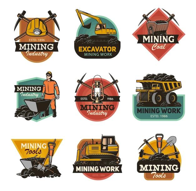 Kohlebergbauindustrie isoliert set minenmaschinen und bergbauausrüstung werkzeuge.