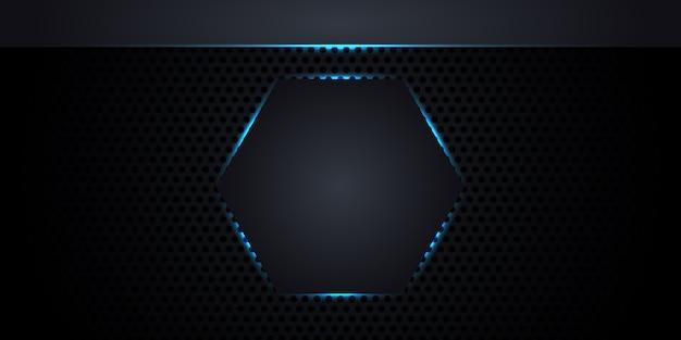 Kohlefaserbeschaffenheit mit bienenwabe. abstrakter dunkler metallhintergrund mit einem hexagon in der mitte mit neonlichtern und leuchtenden linien.