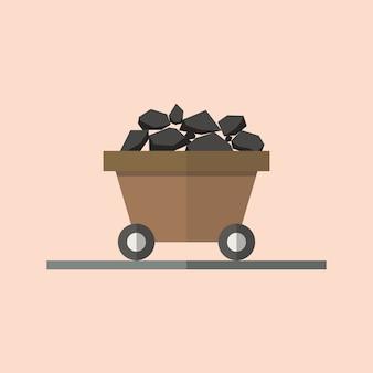 Kohlenwagen im flachen stil. illustration