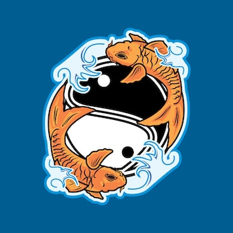 Koi fisch auf yinyang