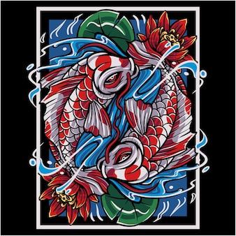 Koi fisch maskottchen logo Premium Vektoren