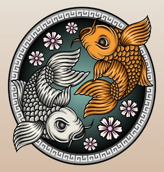 Koi fisch mit sakura.