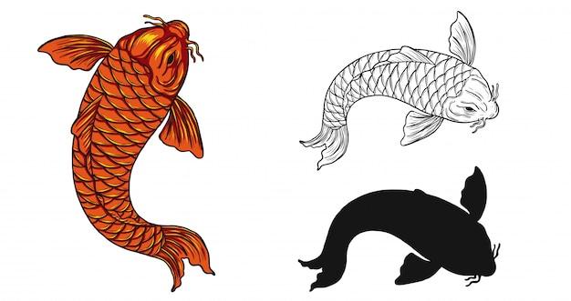 Koi fisch tattoo von hand zeichnen
