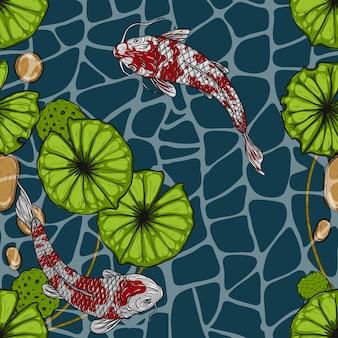 Koi-fische mit nahtlosem muster des lotos eigenhändig zeichnend