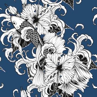 Koi fische und nahtloses muster des hibiskus eigenhändig zeichnen.