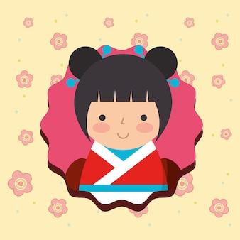 Kokeshi puppe im kimono blüht hintergrund