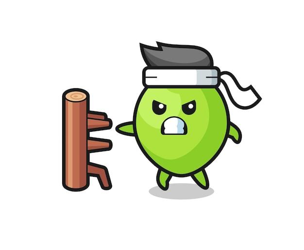 Kokos-cartoon-illustration als karate-kämpfer, niedliches design für t-shirt, aufkleber, logo-element