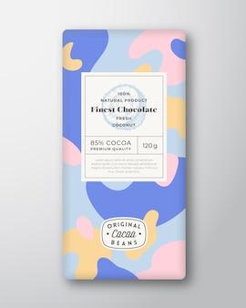 Kokos-schokoladen-etikett abstrakte formen vektor-verpackungs-design-layout mit realistischen schatten moderne...