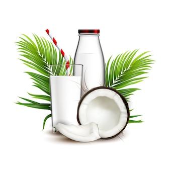 Kokosmilch-natürliches getränk und palmzweig-vektor. frisches kokosmilchgetränk, zerbrochene nuss, grüne blätter und glasflasche. coco trinken produkt vorlage realistische 3d-darstellung