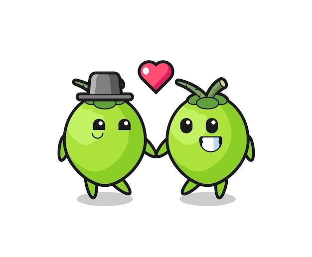 Kokosnuss-cartoon-charakterpaar mit verliebtheitsgeste, süßem stildesign für t-shirt, aufkleber, logo-element