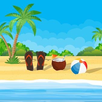 Kokosnuss mit kaltgetränk, alkoholcocktail, flip-flops, ball.