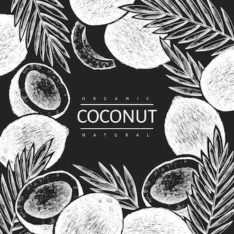 Kokosnuss mit palmblättern designschablone. hand gezeichnete lebensmittelillustration auf kreidetafel.