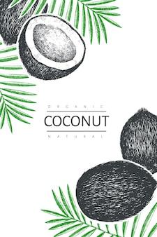 Kokosnuss mit palmblättern designschablone. hand gezeichnete lebensmittelillustration. weinlese botanischer tropischer hintergrund.