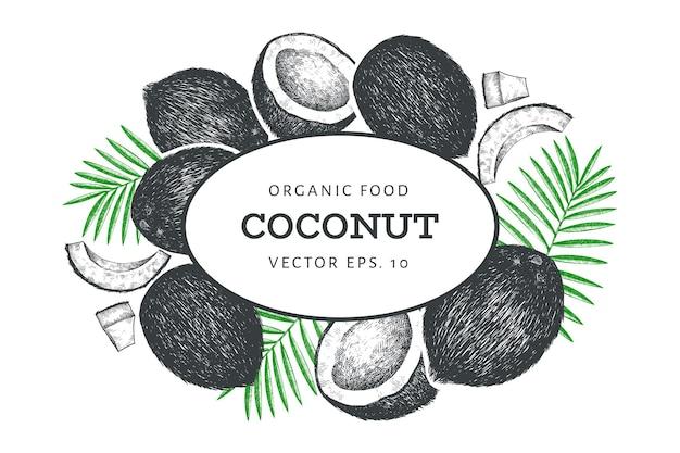Kokosnuss mit palmblättern designschablone. hand gezeichnete lebensmittelillustration.