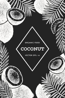 Kokosnuss mit palmblättern designschablone. hand gezeichnete vektorlebensmittelillustration auf kreidetafel.