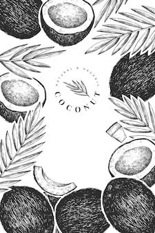 Kokosnuss mit palmblättern designschablone.