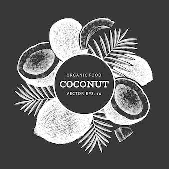 Kokosnuss mit palmblättern. hand gezeichnete vektorlebensmittelillustration auf kreidetafel. exotische pflanze im gravierten stil. retro botanisch tropisch.