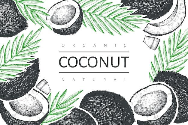 Kokosnuss mit palmblatt-etikettenschablone.