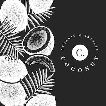 Kokosnuss mit palmblattschablone. hand gezeichnete lebensmittelillustration auf kreidetafel. exotische pflanze im gravierten stil. botanischer tropischer hintergrund.