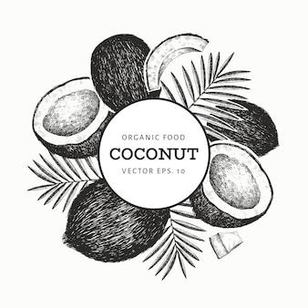 Kokosnuss mit palmblattschablone. hand gezeichnete lebensmittelillustration. exotische pflanze im gravierten stil. retro botanischer tropischer hintergrund.