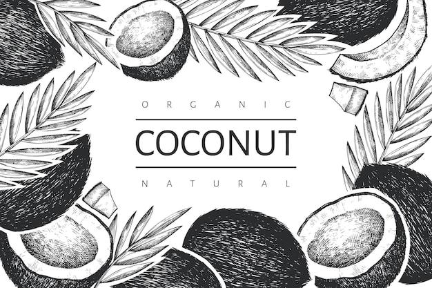 Kokosnuss mit palmblattschablone. hand gezeichnete lebensmittelillustration. exotische pflanze im gravierten stil.