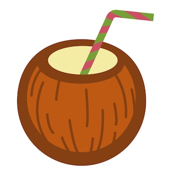 Kokosnuss mit strohhalm diente als getränk. isolierte ikone des tropischen getränks, des cocktails oder der milch, die in die fruchtschale gegossen wird. sommerurlaub, symbol für wärme und sommer. leckeres essen, vektor in flach