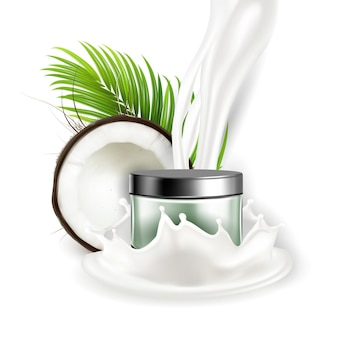 Kokosnuss-naturcreme-kosmetik-paket-vektor. abgestürzte kokosnuss- und palmgrünblätter, nussmilchspritzer und leerer behälter mit cremigem hautpflegeprodukt. vorlage realistische 3d-illustration