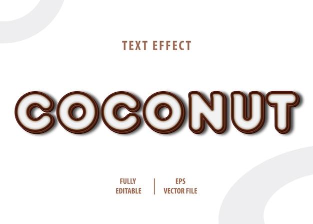 Kokosnuss-textstil-effekt Premium Vektoren