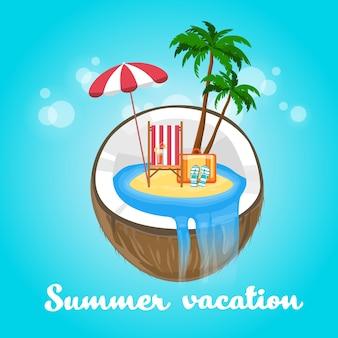 Kokosnuss-tropische insel-sommer-strand-ferien