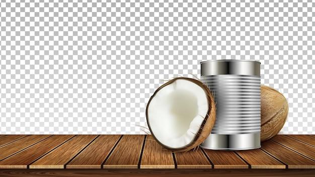 Kokosnuss-tropische nuss und metallischer behälter-vektor. abgestürzte natürliche reife kokosnuss und stahlbehälter für milch auf holztisch. coco essen und trinken vorlage realistische 3d-illustration