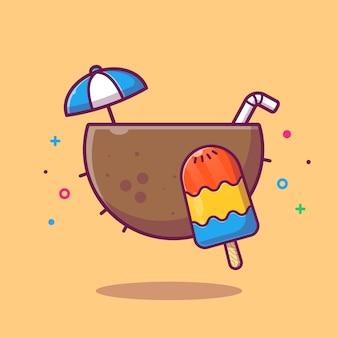 Kokosnuss- und eiscreme-illustration. sommer essen und trinken. urlaubskonzept isoliert