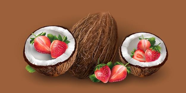 Kokosnuss und erdbeere
