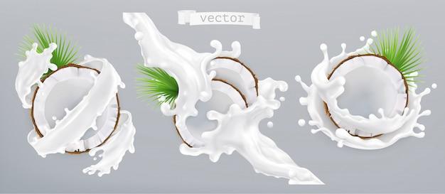 Kokosnuss und milch spritzen. 3d realistische ikone