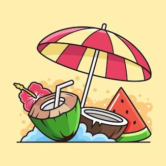 Kokosnuss-, wassermelonen- und regenschirm-symbolillustration. feiertagsikonen-konzept